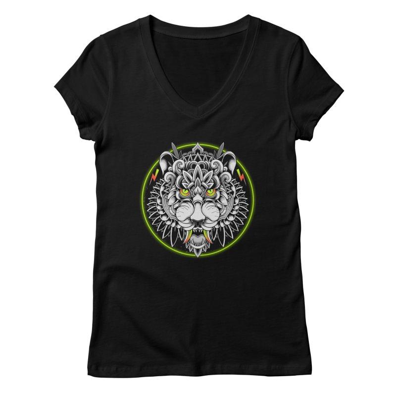 Retrowave Tiger Women's V-Neck by godzillarge's Artist Shop