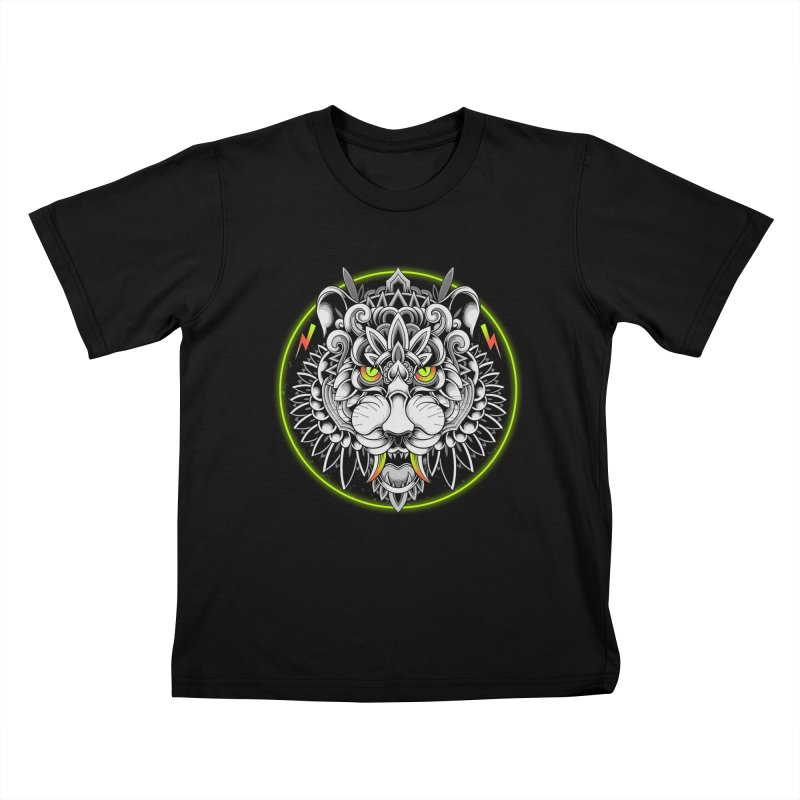 Retrowave Tiger Kids T-Shirt by godzillarge's Artist Shop
