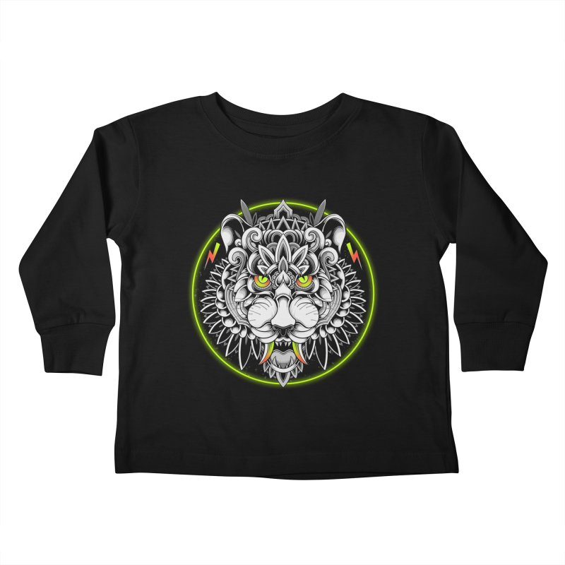 Retrowave Tiger Kids Toddler Longsleeve T-Shirt by godzillarge's Artist Shop