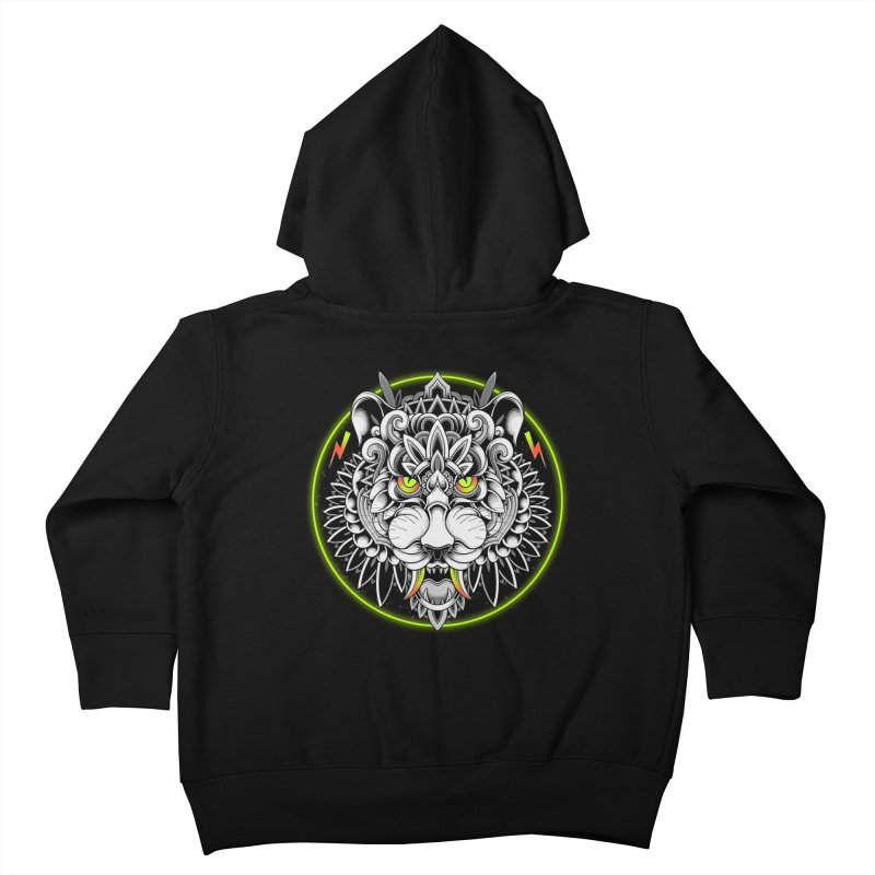 Retrowave Tiger Kids Toddler Zip-Up Hoody by godzillarge's Artist Shop