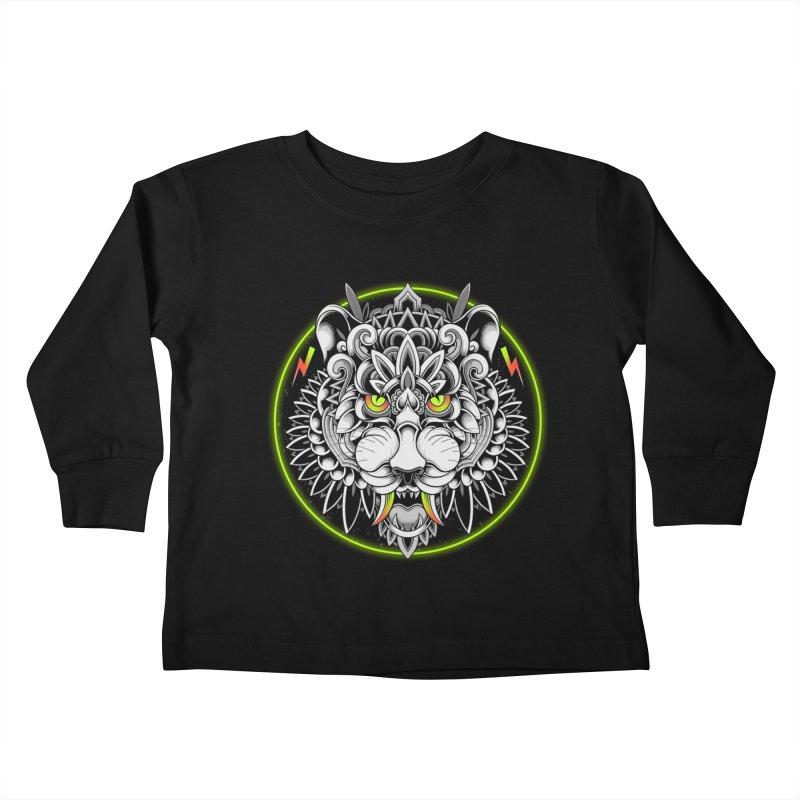 Retrowave Tiger Kids Toddler Longsleeve T-Shirt by godzillarge's Artist Shop
