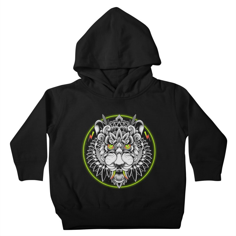 Retrowave Tiger Kids Toddler Pullover Hoody by godzillarge's Artist Shop