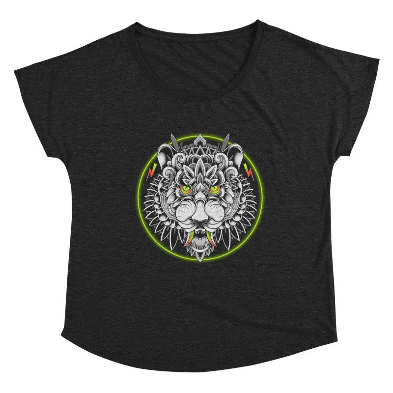 Retrowave Tiger Women's Scoop Neck by godzillarge's Artist Shop