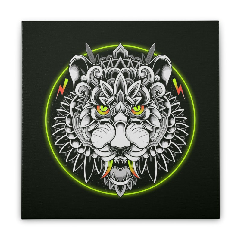 Retrowave Tiger Home Stretched Canvas by godzillarge's Artist Shop
