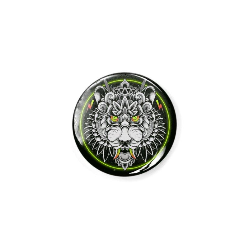 Retrowave Tiger Accessories Button by godzillarge's Artist Shop