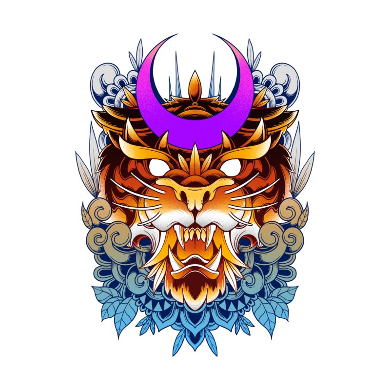 Tiger Moon Accessories Sticker by godzillarge's Artist Shop