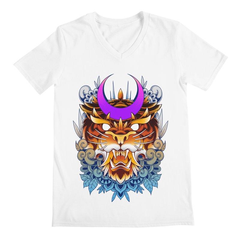 Tiger Moon Men's V-Neck by godzillarge's Artist Shop