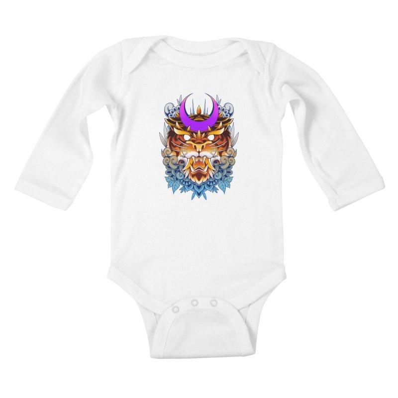 Tiger Moon Kids Baby Longsleeve Bodysuit by godzillarge's Artist Shop
