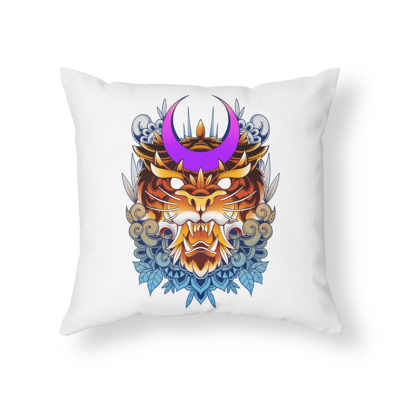 Tiger Moon Home Throw Pillow by godzillarge's Artist Shop