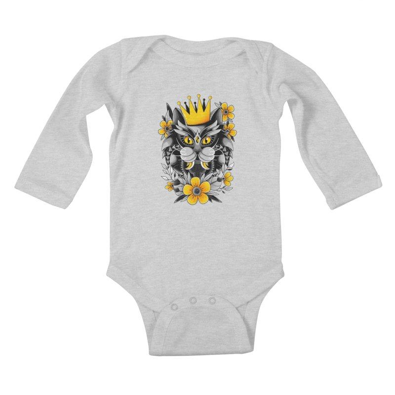 King of Purr Kids Baby Longsleeve Bodysuit by godzillarge's Artist Shop
