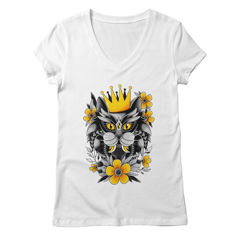 King of Purr Women's V-Neck by godzillarge's Artist Shop