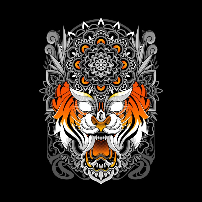 Tiger Mandala Accessories Sticker by godzillarge's Artist Shop