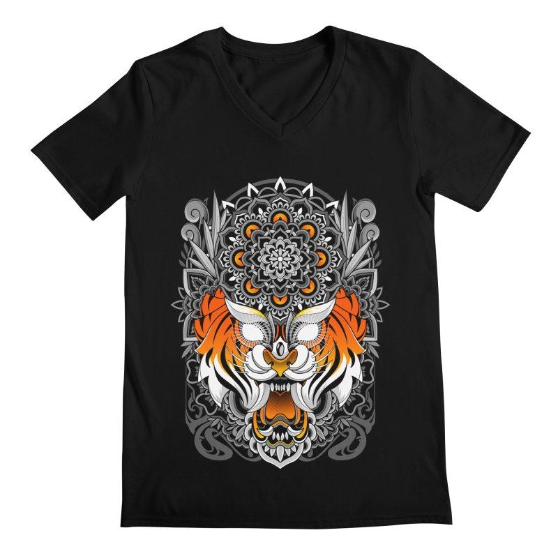Tiger Mandala Men's V-Neck by godzillarge's Artist Shop