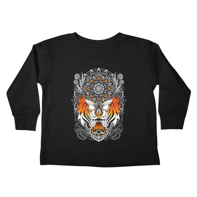 Tiger Mandala Kids Toddler Longsleeve T-Shirt by godzillarge's Artist Shop