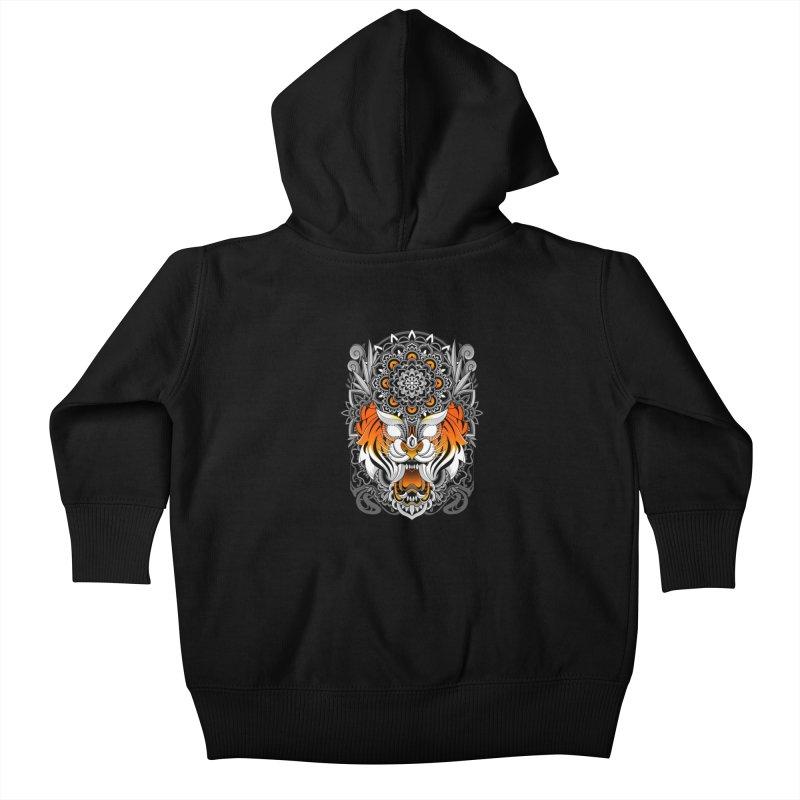 Tiger Mandala Kids Baby Zip-Up Hoody by godzillarge's Artist Shop