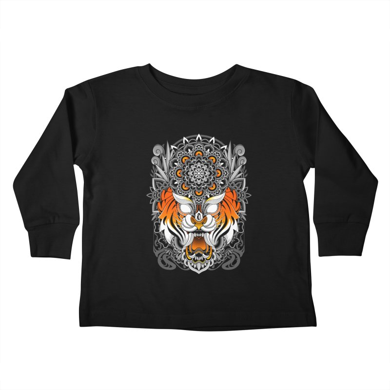 Tiger Mandala Kids Toddler Longsleeve T-Shirt by godzillarge's Artist Shop