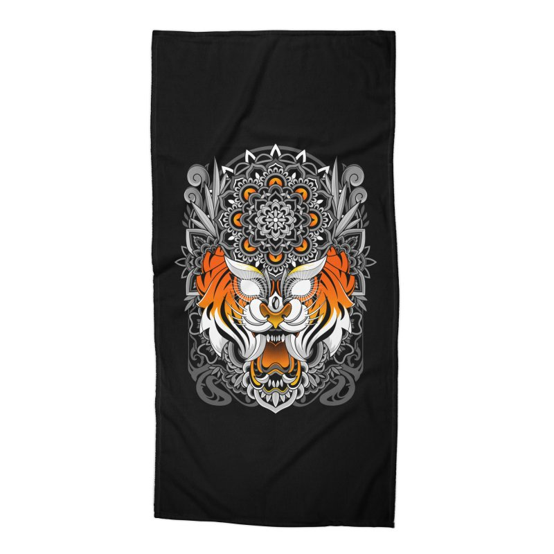 Tiger Mandala Accessories Beach Towel by godzillarge's Artist Shop