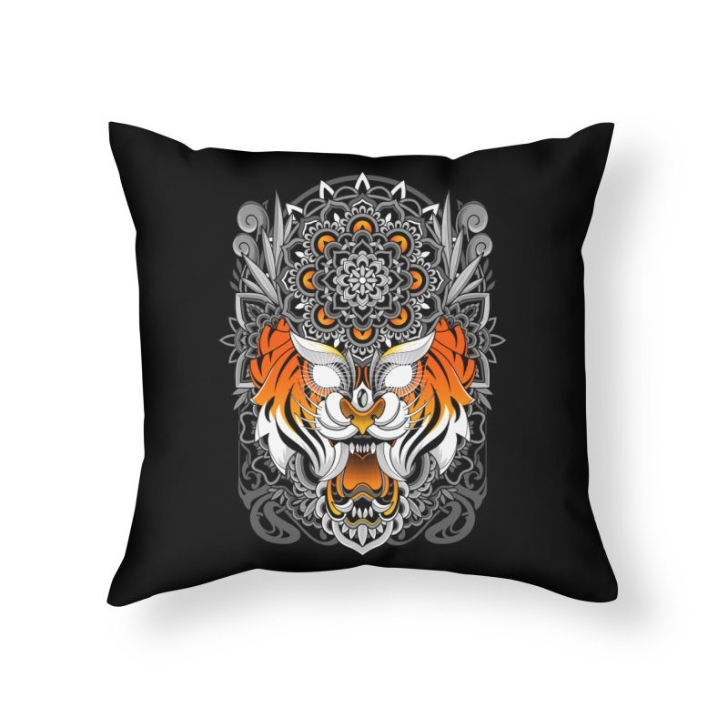 Tiger Mandala Home Throw Pillow by godzillarge's Artist Shop