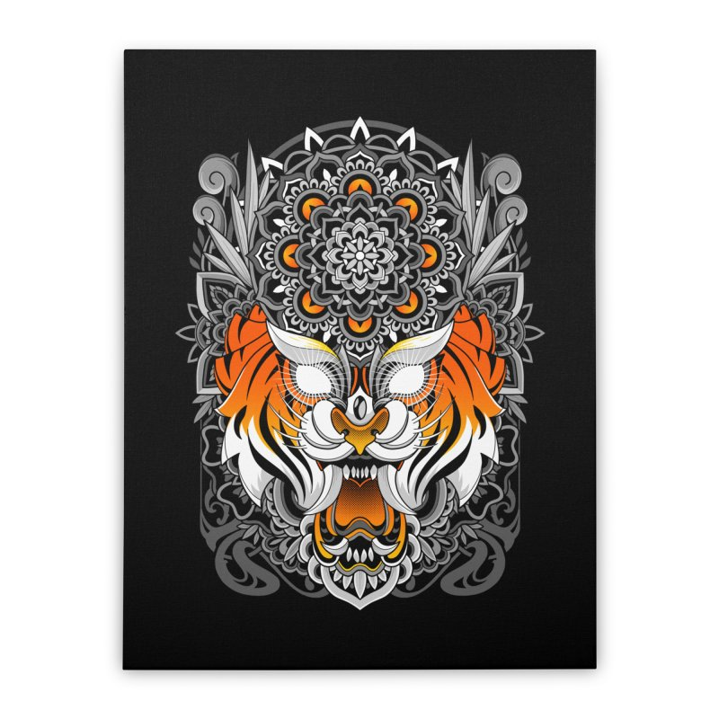 Tiger Mandala Home Stretched Canvas by godzillarge's Artist Shop