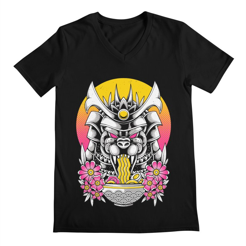 Samurai Kaiju Ramen Men's V-Neck by godzillarge's Artist Shop