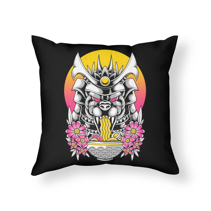 Samurai Kaiju Ramen Home Throw Pillow by godzillarge's Artist Shop