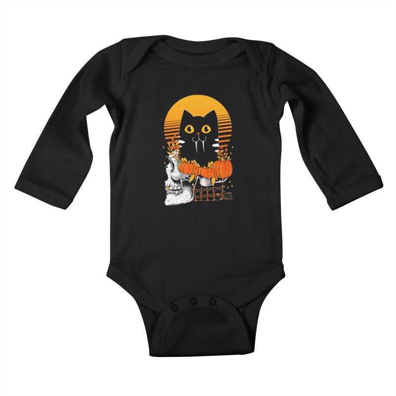 Halloween Cat Kids Baby Longsleeve Bodysuit by godzillarge's Artist Shop