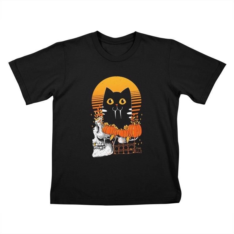 Halloween Cat Kids T-Shirt by godzillarge's Artist Shop
