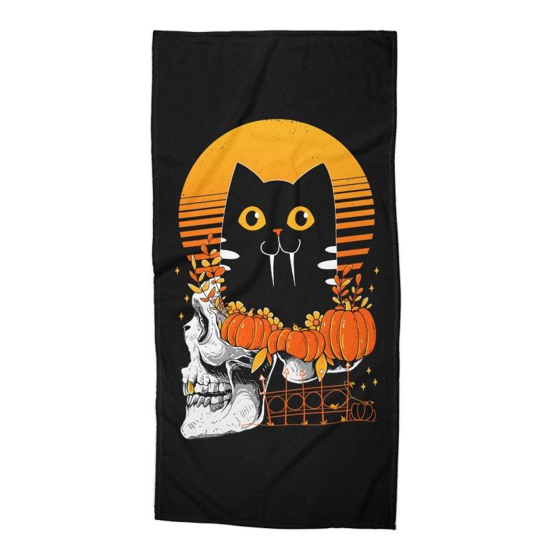 Halloween Cat Accessories Beach Towel by godzillarge's Artist Shop