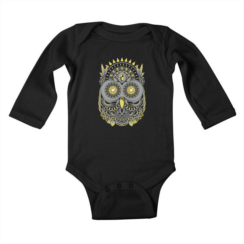 Golden Owl Kids Baby Longsleeve Bodysuit by godzillarge's Artist Shop