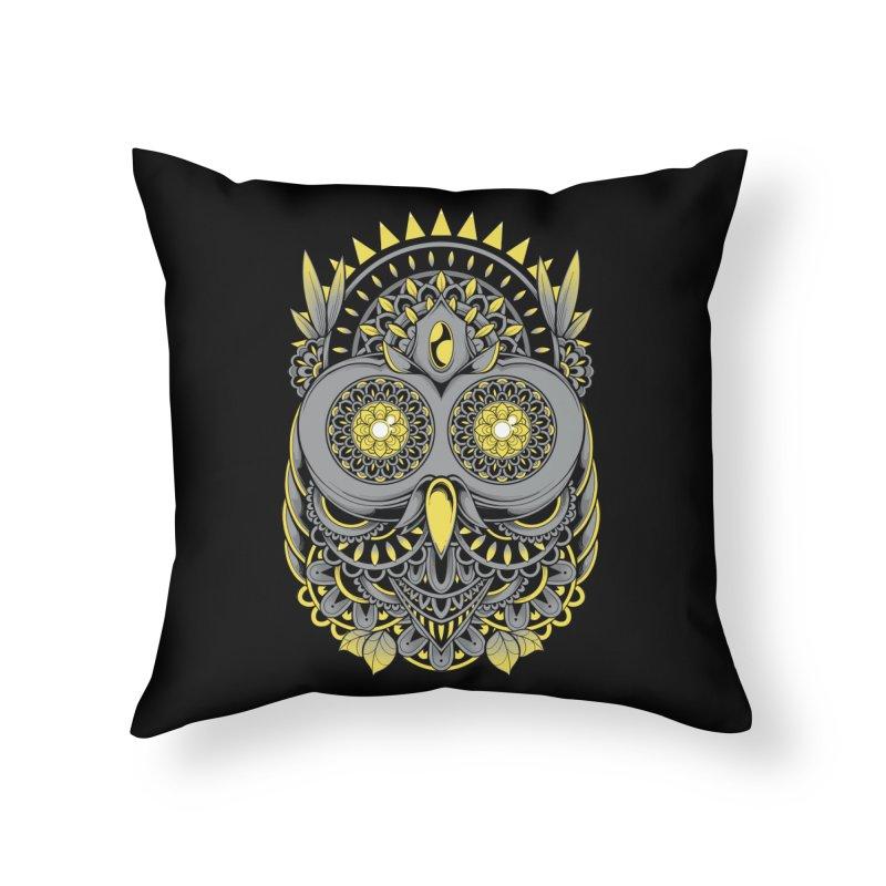 Golden Owl Home Throw Pillow by godzillarge's Artist Shop