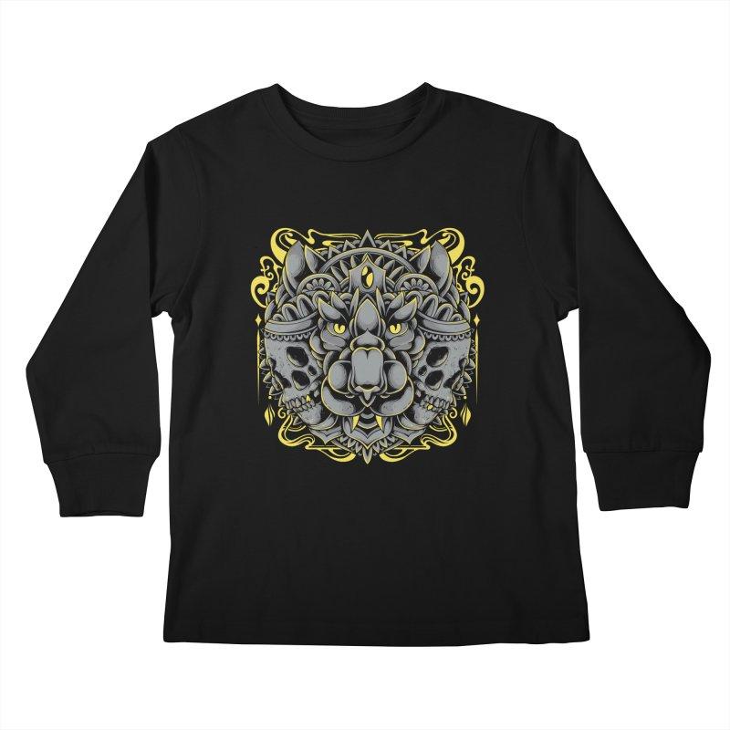 Ghost Tiger Kids Longsleeve T-Shirt by godzillarge's Artist Shop