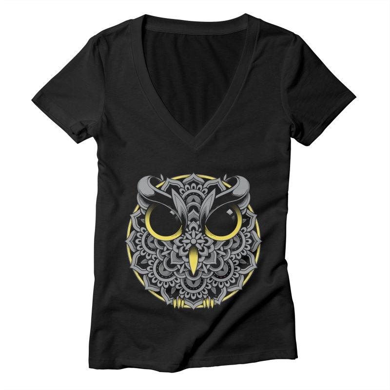 Owl Mandala Women's V-Neck by godzillarge's Artist Shop