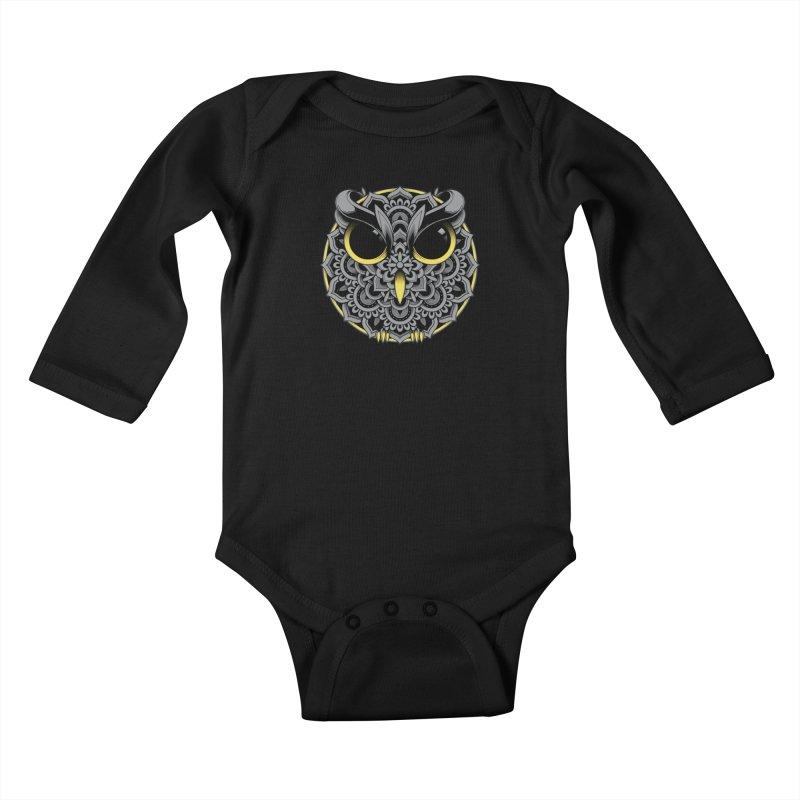 Owl Mandala Kids Baby Longsleeve Bodysuit by godzillarge's Artist Shop