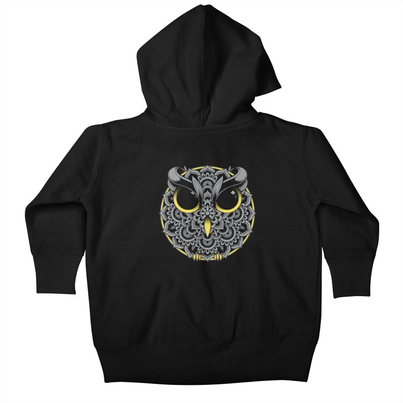 Owl Mandala Kids Baby Zip-Up Hoody by godzillarge's Artist Shop