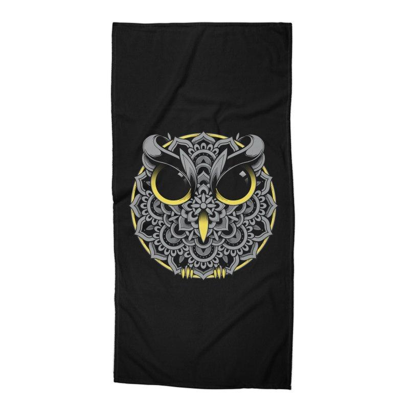 Owl Mandala Accessories Beach Towel by godzillarge's Artist Shop