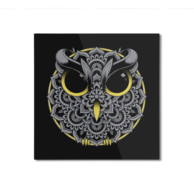 Owl Mandala Home Mounted Aluminum Print by godzillarge's Artist Shop
