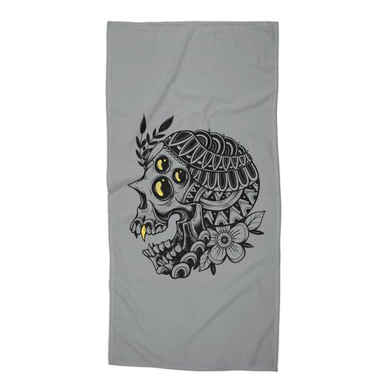 Botanical Skull Accessories Beach Towel by godzillarge's Artist Shop
