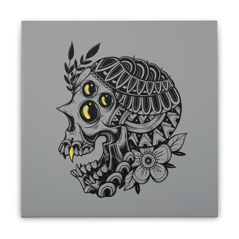Botanical Skull Home Stretched Canvas by godzillarge's Artist Shop