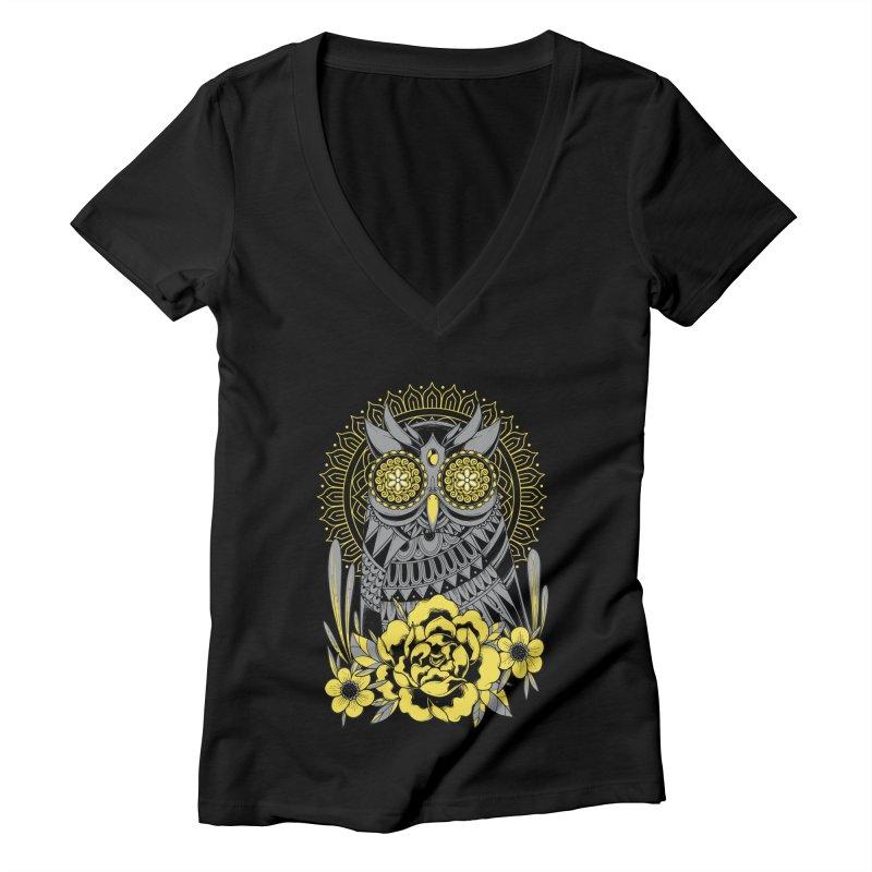 Golden Eyes Owl Women's V-Neck by godzillarge's Artist Shop