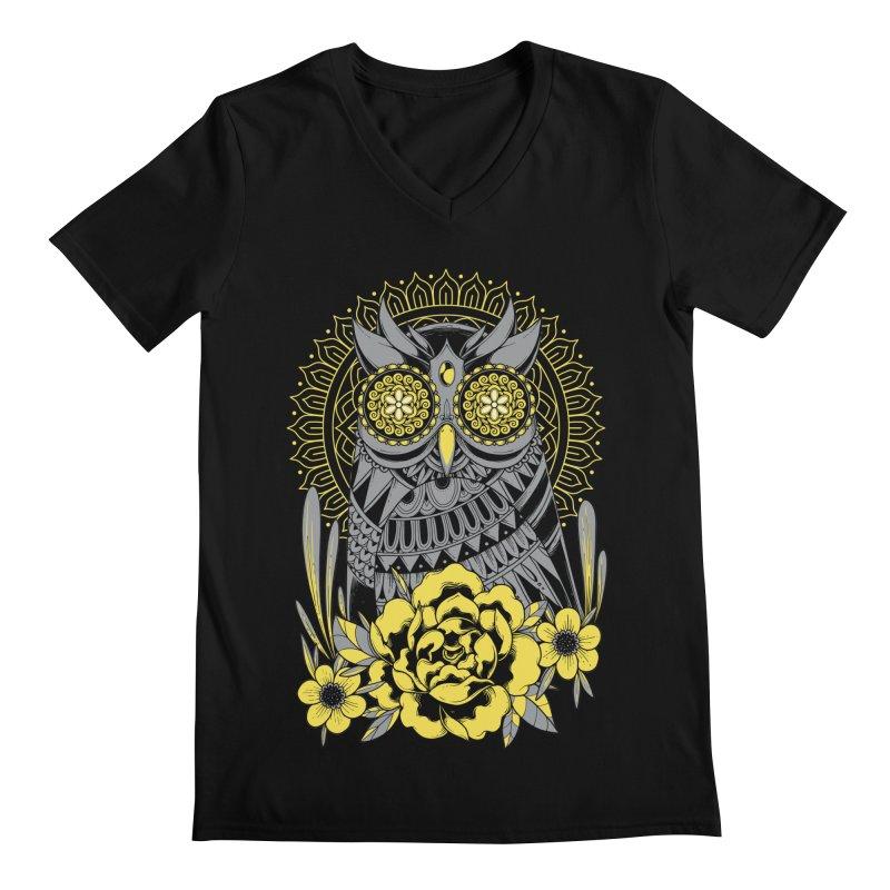 Golden Eyes Owl Men's V-Neck by godzillarge's Artist Shop