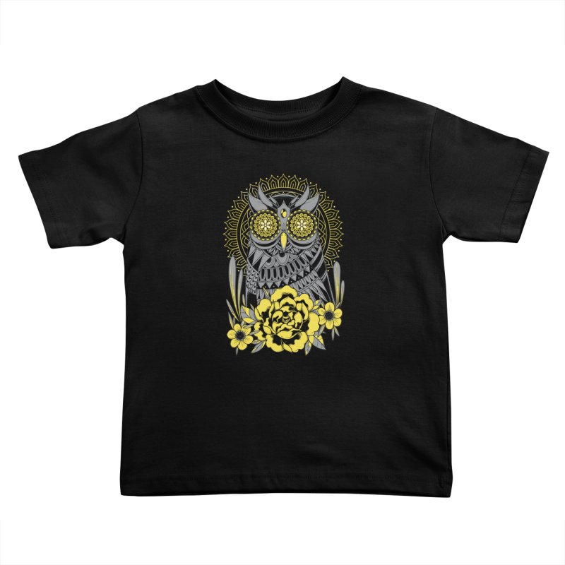 Golden Eyes Owl Kids Toddler T-Shirt by godzillarge's Artist Shop