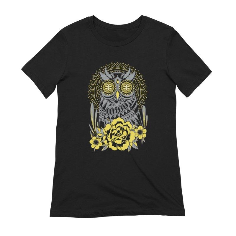 Golden Eyes Owl Women's T-Shirt by godzillarge's Artist Shop