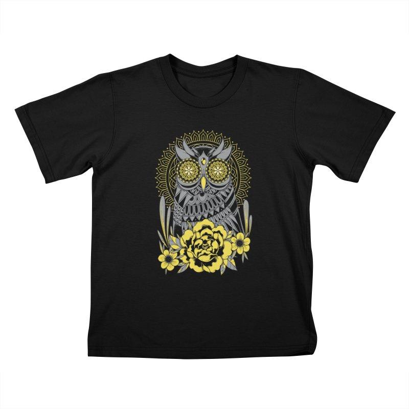 Golden Eyes Owl Kids T-Shirt by godzillarge's Artist Shop