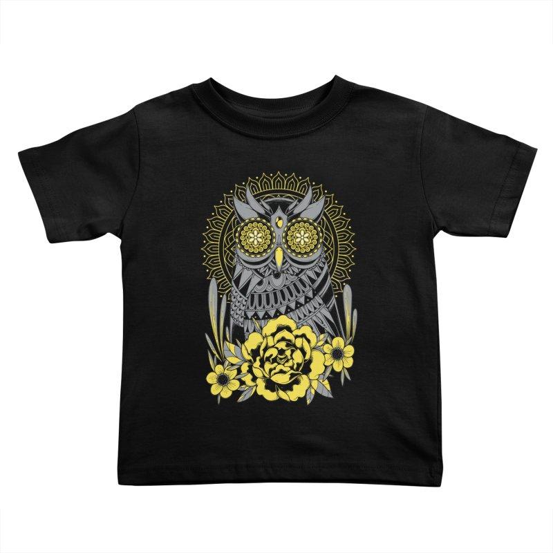Golden Eyes Owl Kids Toddler T-Shirt by godzillarge's Artist Shop