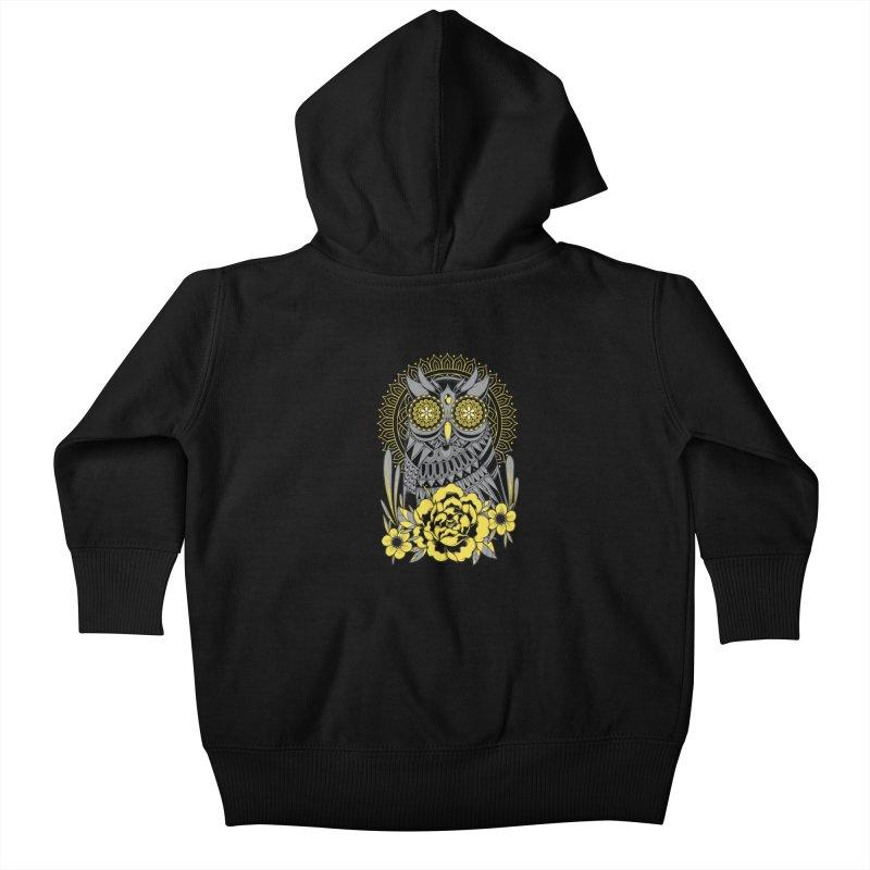 Golden Eyes Owl Kids Baby Zip-Up Hoody by godzillarge's Artist Shop