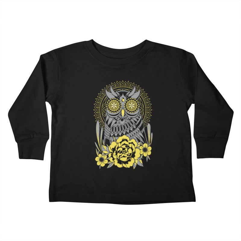 Golden Eyes Owl Kids Toddler Longsleeve T-Shirt by godzillarge's Artist Shop