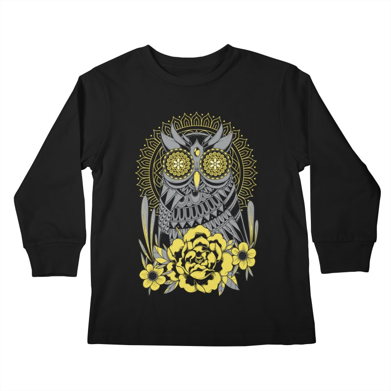 Golden Eyes Owl Kids Longsleeve T-Shirt by godzillarge's Artist Shop