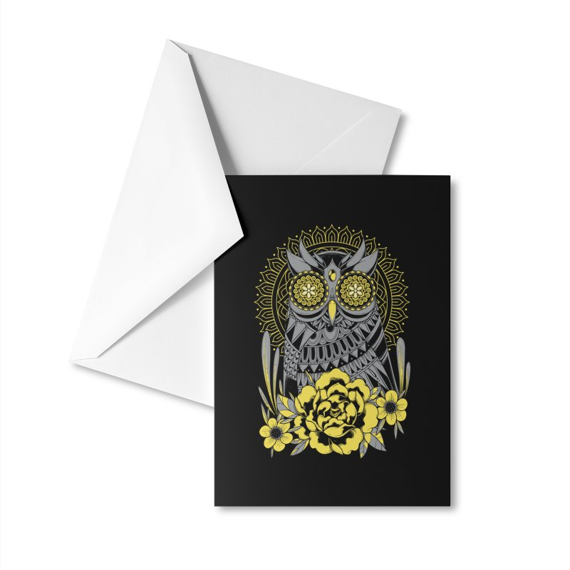 Golden Eyes Owl Accessories Greeting Card by godzillarge's Artist Shop
