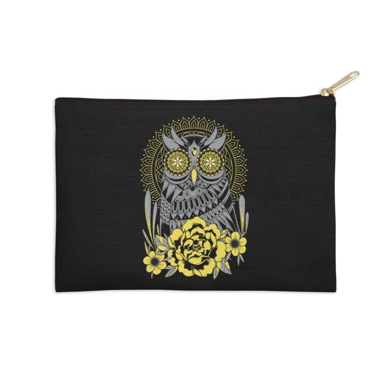 Golden Eyes Owl Accessories Zip Pouch by godzillarge's Artist Shop