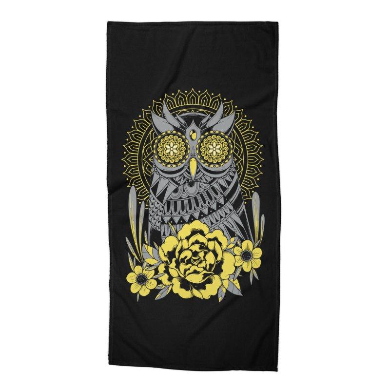 Golden Eyes Owl Accessories Beach Towel by godzillarge's Artist Shop